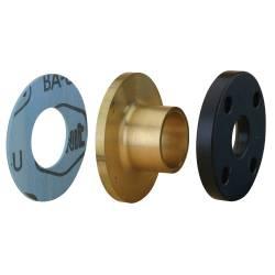 Ensemble 3 pièces bride PN 10, collet à braser sur cuivre et joint